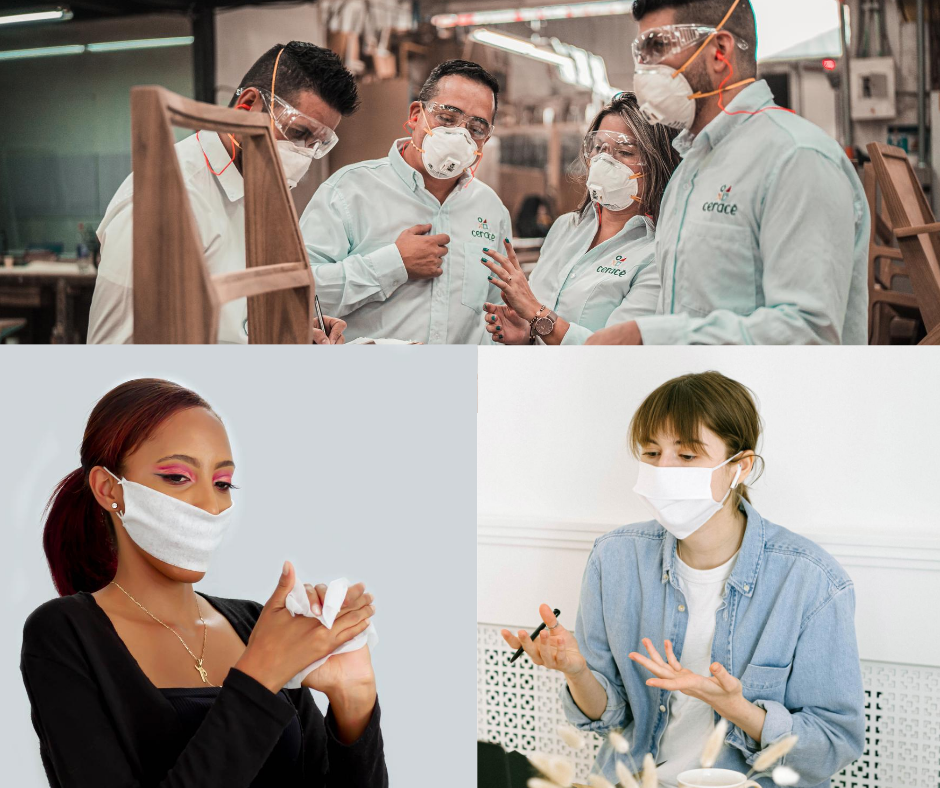 People wearing masks at work.